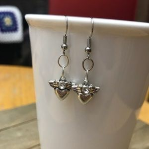 3 for $25 Handmade Silver Heart Angel Earrings